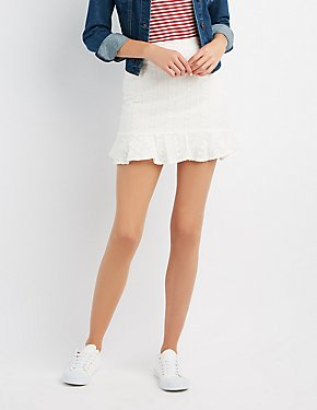 Embroidered Ruffle-Trim Skirt