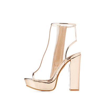 Clear & Metallic Peep Toe Slingback Booties