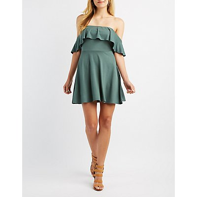 Ruffle Off-The-Shoulder Skater Dress