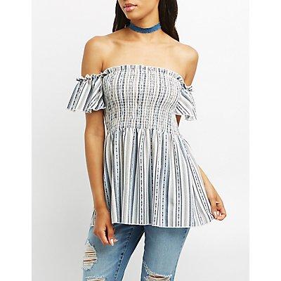 Striped Smocked Off-The-Shoulder Top
