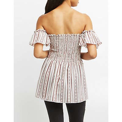 Striped Smocked Off-The-Shoulder Top