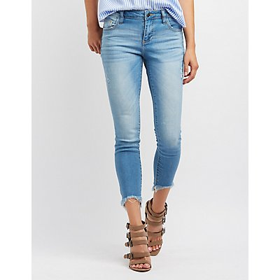 Cello Frayed Hem Skinny Jeans
