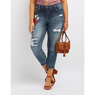 Plus Size Dollhouse Patch Destroyed Skinny Jeans