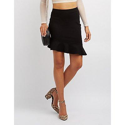 Asymmetrical Ruffle-Trim Skirt