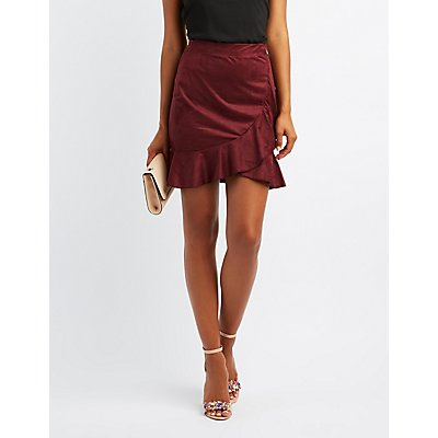 Faux Suede Ruffle-Trim Skirt