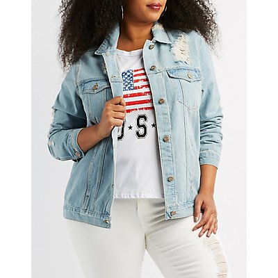 Plus Size Destroyed Denim Boyfriend Jacket