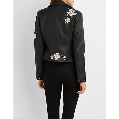 Embroidered Faux Leather Studded Jacket