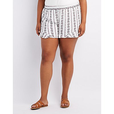 Plus Size Floral Ruffle-Trim Shorts