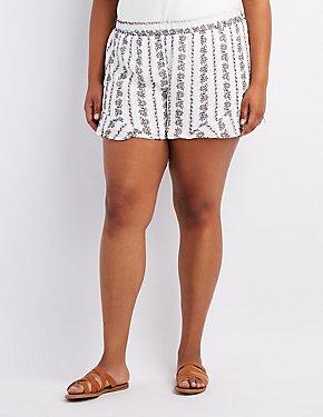 Plus Size Floral Ruffle-Trim Shorts