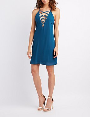 Lattice-Front Open-Back Shift Dress