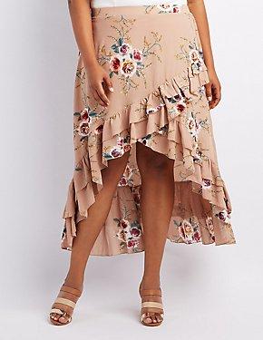 Plus Size Floral Ruffle-Trim Wrap Skirt