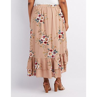 Plus Size Floral Ruffle-Trim Wrap Skirt