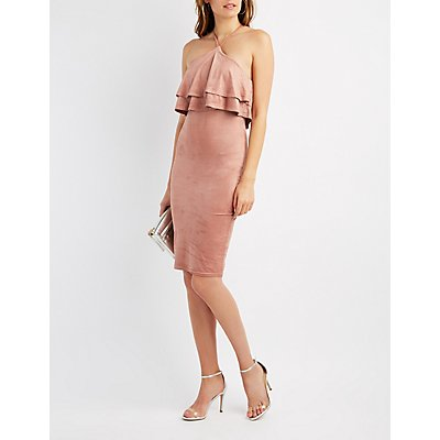 Ruffle Halter Bodycon Dress