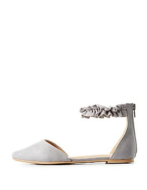 Pointed Toe Ruffle-Trim D'Orsay Flats