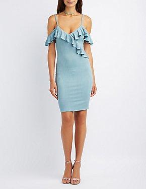 Ribbed Ruffle-Trim Cold Shoulder Dress