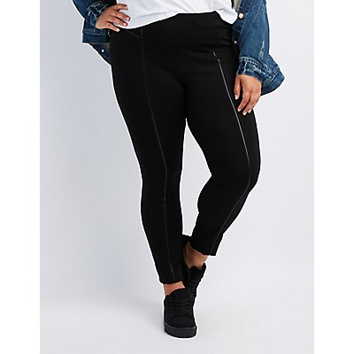 Plus Size Faux Leather-Inset Ponte Pants