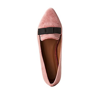 Bow-Trim Pointed Toe Loafers