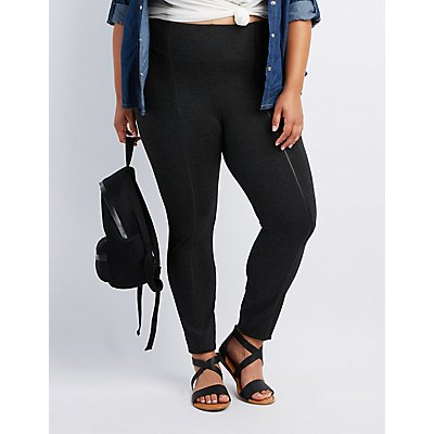 Plus Size Faux Leather-Inset Ponte Pants