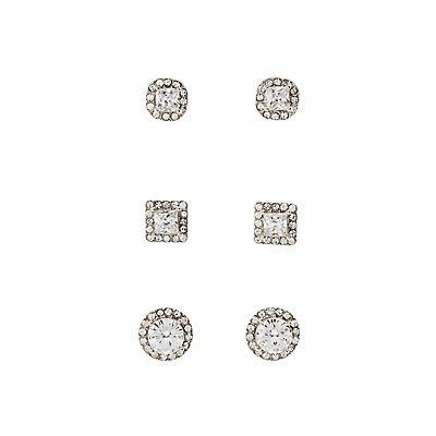 Pave Crystal Stud Earrings - 3 Pack