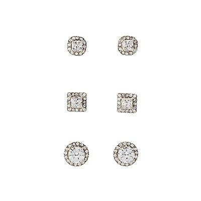 Pave Crystal Stud Earrings - 3 Pack