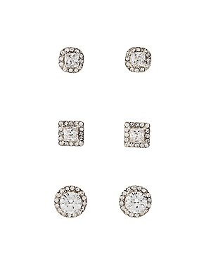 Pave Crystal Stud Earrigns - 3 Pack
