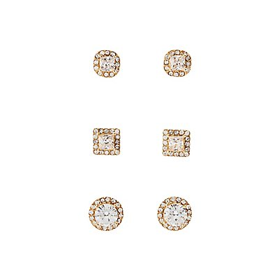 Pave Crystal Stud Earrigns - 3 Pack at Charlotte Russe in Cypress, TX | Tuggl