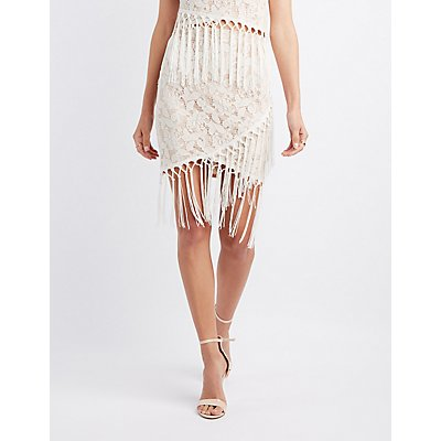 Lace Fringe Pencil Skirt