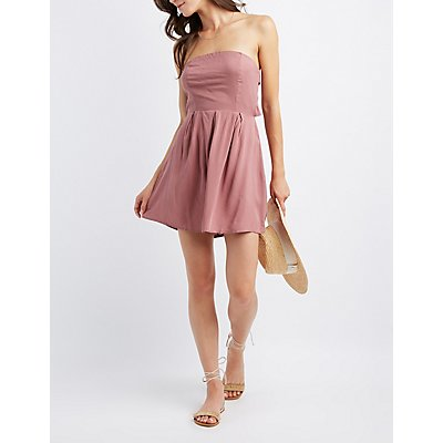 Strapless Open-Back Skater Dress