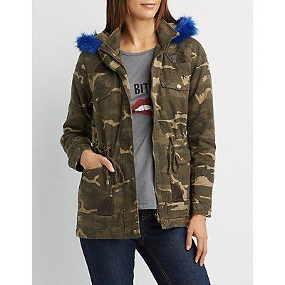 Faux Fur-Trim Camo Anorak Jacket