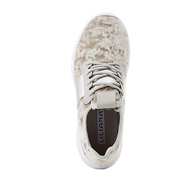Velvet Lace-Up Sneakers