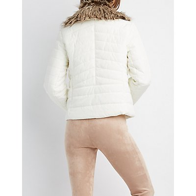 Faux Fur-Trim Puffer Jacket