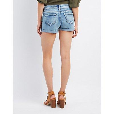 Mid-Rise Cuffed Denim Shorts