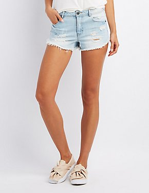 Destroyed Cheeky Denim Shorts