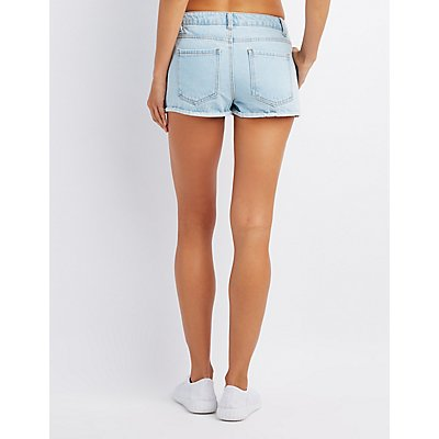 High-Rise Embroidered Cuffed Cheeky Shorts