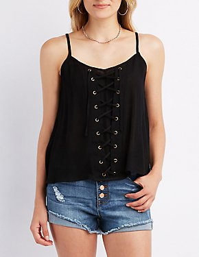 Lace-Up Inset Tank Top