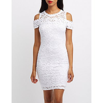 Lace Cold Shoulder Bodycon Dress
