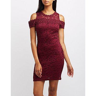 Lace Cold Shoulder Bodycon Dress
