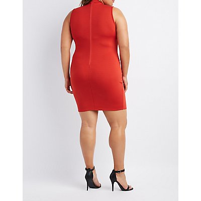 Plus Size Caged Mock Neck Dress