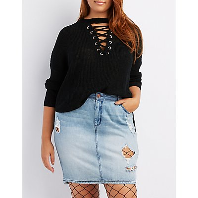 Plus Size Lace-Up Front Sweater