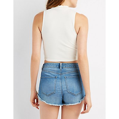 Ribbed Mock Neck Lace-Up Top