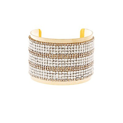 Plus Size Embellished Rhinestone Cuff Bracelet