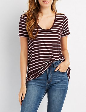 Striped Lace-Up Back Tee