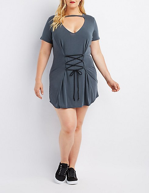 Plus Size Lace Up Corset Dress Charlotte Russe
