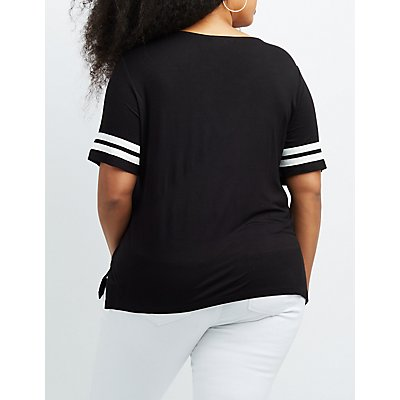 Plus Size Varsity Stripe Lace-Up Tee