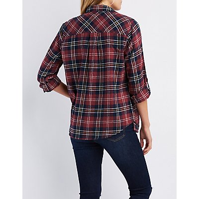 Plaid Button-Up Lace-Up Detail Shirt