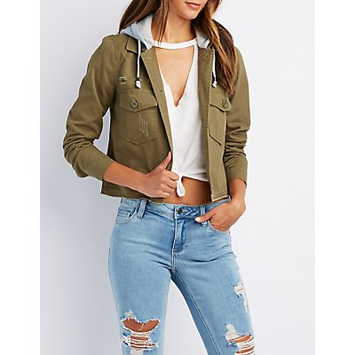 Hooded Destroyed Twill Jacket