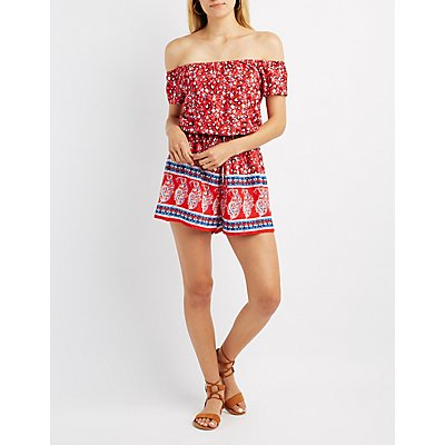 Printed Off-The-Shoulder Romper