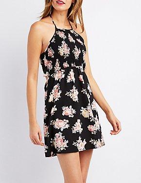 Floral Smocked Halter Dress