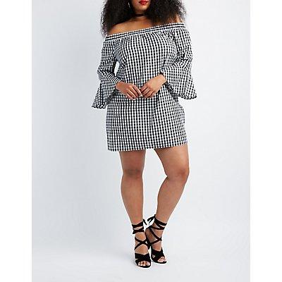Plus Size Gingham Off-The-Shoulder Shift Dress