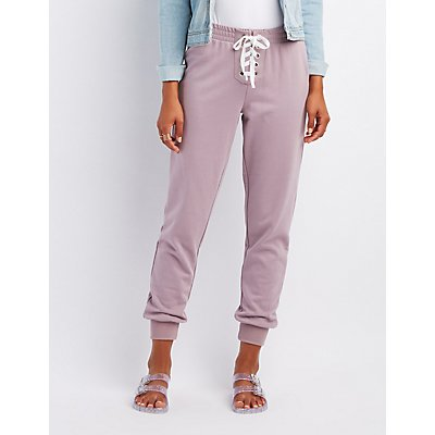 Lace-Up Drawstring Jogger Pants
